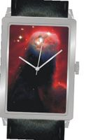 """Cone Nebula Monoceros"" Is the Hubble Image on the Dial of the Polished Chrome Rectangle with a Black Leather Strap"