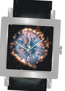 """Planetary Nebula NGC 6751"" Is the Hubble Image on the Dial of the Polished Chrome Square Shape with a Black Leather Strap"
