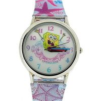 Spongebob Squarepants Childrens Analogue Metal Bezel Star Fish PU Strap SB41