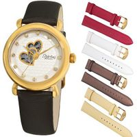 Stuhrling Original 108EH.12352 Amour Cupid Valentine Automatic Skeleton Swarovski Accented Gold Tone Gift Set