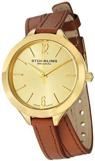 "Stuhrling Original 568.04 Soiree ""Deauville Sport"" 23k Yellow Gold-Plated Stainless Steel and Brown Leather Wrap"