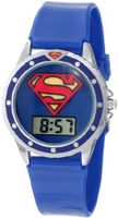 Superman Kids' SUP4018 Blue Silicone Superman Logo Strap