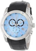 Swiss Legend 10005-012 Traveler Chronograph Light Blue Textured Dial Black Leather