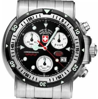 Swiss Military Deep Water Diving Scuba Black Dial Chronograph Stainless Steel Water Resistant