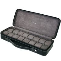 16 Case for Collectors Travel Style Briefcase Black Leather Large Compartments Zipper