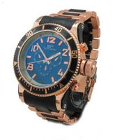 Diver-look Rose Gold Tone Metal with Black Center Links