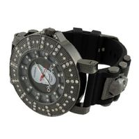 Gunmetal Oversized Iced Out Skull with Rose Black Silicone Band