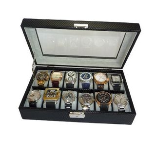 12 Piece Black Carbon Fiber Display Case or Ladies Box Collection Jewelry Storage Glass Top