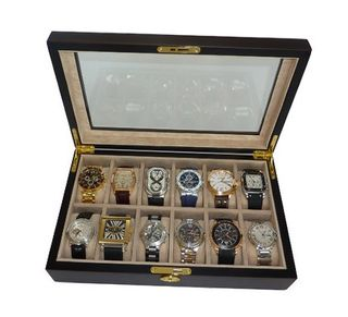 12 Piece Ebony Walnut Wood Box Display Case Collection Jewelry Box Storage Glass Top