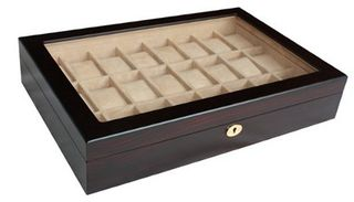 24 Piece Walnut Ebony Wood Dark Brown Black Display Case and Wooden Storage Organizer Box