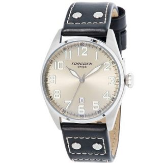 Torgoen T28102 Gents Quartz Analogue Silver Dial Black Leather Strap