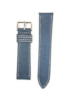 18mm Blue Bomber Leather Style band With Heavy S/S Buckle And Double Contrast Stitching