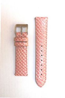 18mm Pink Snakeskin Leather with Quick-Release Pins for Michele Style