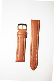 18mm Tan Breitling Style Padded Glove Leather with Leather Lining and Gold-plated Buckle