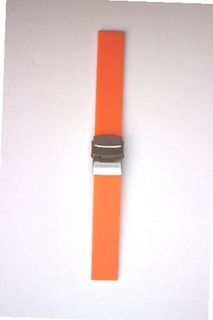 22mm Orange Plain Smooth Rubber/Silicone band with S/S Buckle