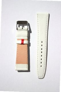 uToscana 14mm White Flat Genuine Leather band with German Design Red Keeper