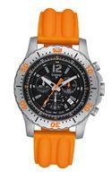 Stainless Steel Extreme Sport Chronograph Black Dial Orange Strap