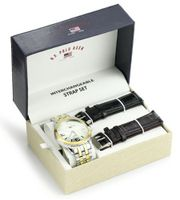 U.S. Polo Assn. Classic US2038 Two-Tone Bracelet with Two Interchangeable Strap Bands Set
