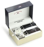 U.S. Polo Assn. Classic US2040 Silver-Tone Bracelet with Two Interchangeable Strap Bands Set
