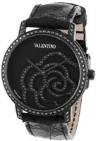 Valentino V41SBQ6709SSA09 Rose Black Diamond Bezel and Dial Crocodile Leather