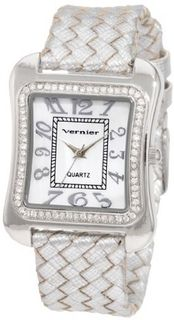 Vernier VNR11065SS Fashion Glitz Polyurethane Leather Quartz