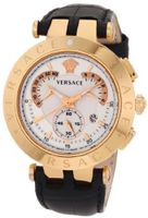 Versace 23C80D002 S009 V-Race Chrono Rose-Gold Plated Interchangeable-Rings Genuine Leather