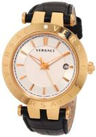 Versace 23Q80D002 S009 V-Race 3 Hands Rose-Gold Plated 3-Interchangeable Rings Leather