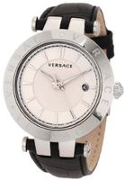 Versace 23Q99D002 S009 V-Race 3 Hands Black Genuine Leather 3 Interchangeable Top Rings