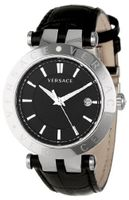 Versace 23Q99D008 S009 V-Race 3 Hands Black Dial Leather 3-Interchangeable Rings