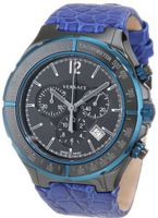 Versace 28CCB8D082 S282 DV One Black Ceramic Case with Blue IP Tachymeter Bezel Black Dial Chronograph Date Blue Leather
