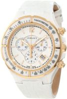 Versace 28CCP1D001 S001 Dv One White Ceramic Case with Rose Gold IP Tachymeter Bezel White Dial Chronograph Date White Leather