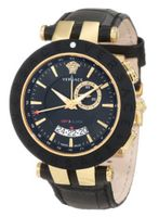 Versace 29G7S9D009 S009 V-Race Gold Ion-Plated Black Dial Leather GMT-