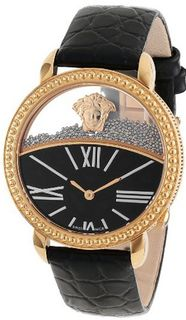 "Versace 93Q80BD008 S009 ""Krios"" Rose Gold Ion-Plated Stainless Steel and Black Leather Micro-Sphere"