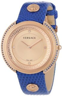 Versace VA7080013 Thea Gold Ion-Plated Stainless Steel Blue Sapphires Lizard Pattern Leather Strap