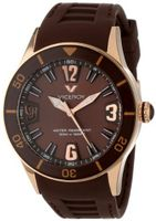 Viceroy 42108-45 Fun Colors 12 Rose Gold Ion-Plated Stainless Steel Luminous Hands Brown Soft Rubber