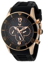 Viceroy 42110-99 Fun Colors 12 Rose Gold Ion-Plated Stainless Steel Luminous Hands Black Soft Rubber Dual Time Day Date