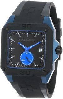 Vince Camuto VC/1026BKBL The Aviator Sport Square Blue Accented Black Silicone Strap