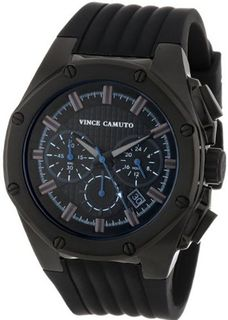 Vince Camuto VC/1032BKTI The Dyver Black Ion-Plated Silicone Strap Chronograph