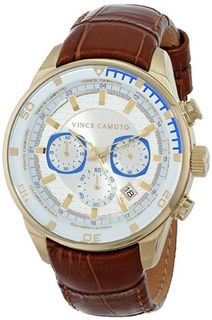 Vince Camuto VC/1043WTGP The Admiral Dress Chronograph Gold-Tone Brown Leather Strap