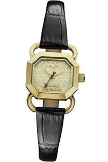 Vivienne Westwood Ravenscourt Quartz with Gold Dial Analogue Display and Black Leather Strap VV085GDBK