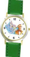 Abraham Lincoln (Honest Abe) - 16th US President - WATCHBUDDY® DELUXE TWO-TONE THEME WATCH - Arabic Numbers - Green Leather Strap-Size- Size-Small