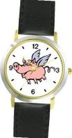 Angel Pig or Flying Pig with Wings Animal - WATCHBUDDY® DELUXE TWO-TONE THEME WATCH - Arabic Numbers - Black Leather Strap-Size- Size-Small