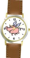Angel Pig or Flying Pig with Wings Animal - WATCHBUDDY® DELUXE TWO-TONE THEME WATCH - Arabic Numbers - Brown Leather Strap-Size-Large ( Size or Jumbo Size )