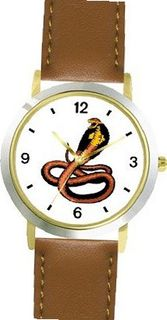 King Cobra Snake Animal - WATCHBUDDY® DELUXE TWO-TONE THEME WATCH - Arabic Numbers - Brown Leather Strap-Children's Size-Small ( Boy's Size & Girl's Size )