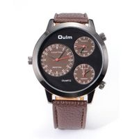 Dulm Boys Russian Army Coffee Leather Sport Quartz Wrist for 3 Time Zone US Stock + Gift Bo