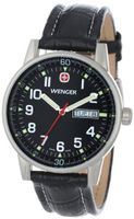 Wenger 70164 Commando Day Date XL Black Dial Black Leather Strap