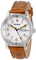 Wenger 70170 Commando Day Date XL Silver Dial Brown Leather Strap