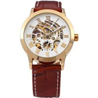 AMPM24 Automatic Mechanical Brown Strap Hollow White Dial Skeleton Wrist PMW076