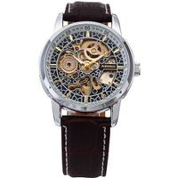 AMPM24 Classic Automatic Mechanical Black Leather Strap Skeleton Wrist es PMW074