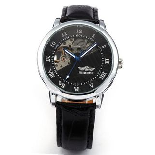AMPM24 Skeleton Hollow Hand-winding Mechanical Black Dial Leather Wrist PMW065